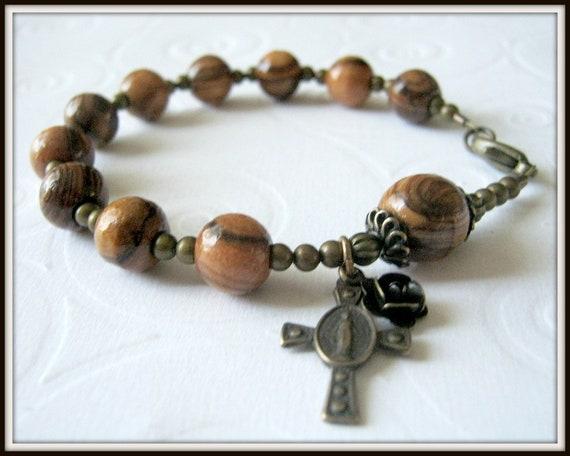 Olive Wood Rosary Bracelet w/ Miraculous Cross