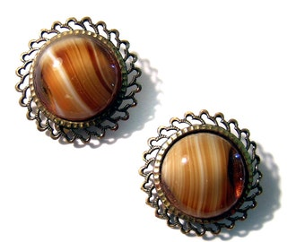 Tiger eye look clip earrings West Germany nifty fifties