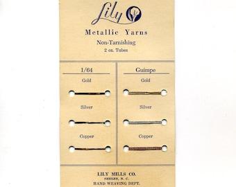 Vintage Metallic Yarns Sample Card, Lily Mills Co, Yarn Color Samples, Sales Sample, Advertisement