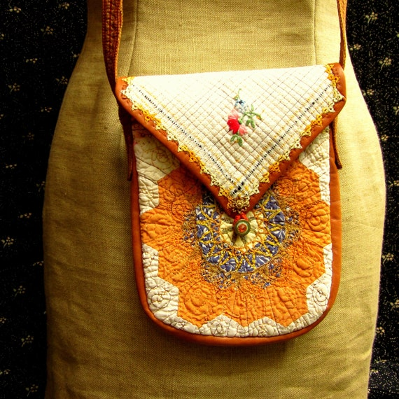 Handcrafted Purse made from Vintage Quilt, Embroidered Linen Hand Towel, Leather and Hand Tinted Lace Doily