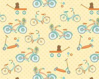 Dress Up Days Yellow Bikes by Doohikey Designs for Riley Blake, 1/2 yard
