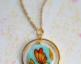 Buttefly Necklace painted by hand - artisan jewelry - handpainted jewelry - everyday jewelry