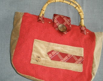 Big Vintage Ugly Tie Purse Bag Tote Red Khaki Tan