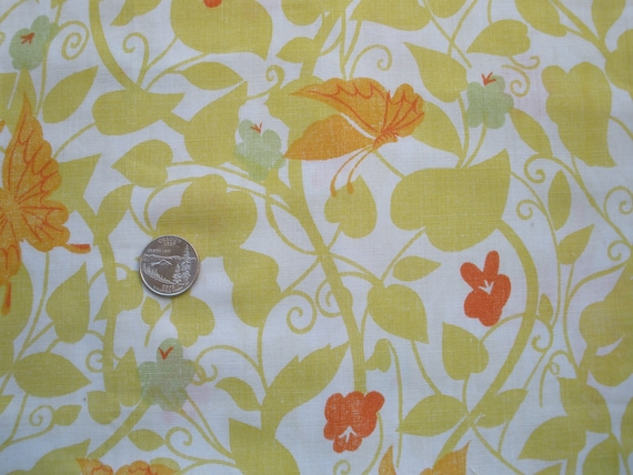 VIntage Sheet Super-sized FAT QUARTER Leaves and Vines with Orange, Red and Lime Flowers and Orange Butterflies Fabric