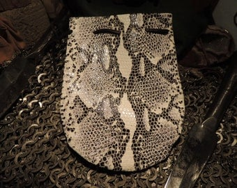 Drawstring pouch (Black and White Snakeskin Print Leather)