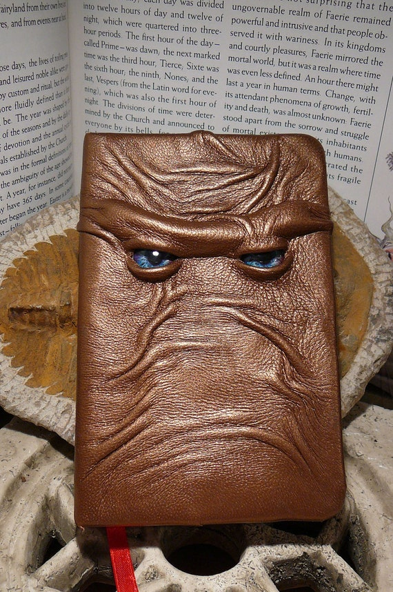 Cover Book With Brown Paper Bag : Mythical beast book bronze leather with blue eyes