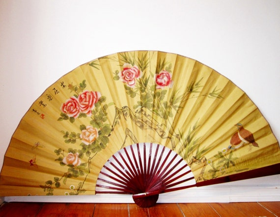 Huge Asian Silk Wall Fan Vintage Decorative Wall By