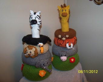Crochet Jungle Stacker baby toy crochet toy IT also RATTLES ANY animals you want