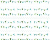 ON SALE 1 yard Riley Blake The Simple Life Simple Buntings Aqua