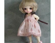 Pink doll silhouette Dress for for Puki Puki & lati white.