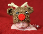 Crochet Reindeer Hat Christmas Holiday