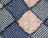 California King Size Rag Quilt and Set of 2 Ragged Shams, Navy Blue Homespun, Folk Art Country Primitive, Handmade in NJ