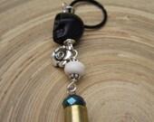 Black skull and shell casing keychain, purse charm, Dia de los Muertos key chain