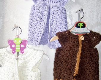 Crochet Sweater Vest, Crochet Pinafore, Crochet Sweater for Baby Girl