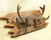 Rustic Cast Iron Deer Antler coat rack  -- lodge cabin decor -- rich patina on cast iron hooks and western cedar