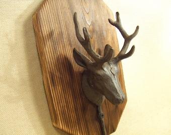 Rustic deer coat rack -- lodge cabin decor -- reclaimed western cedar