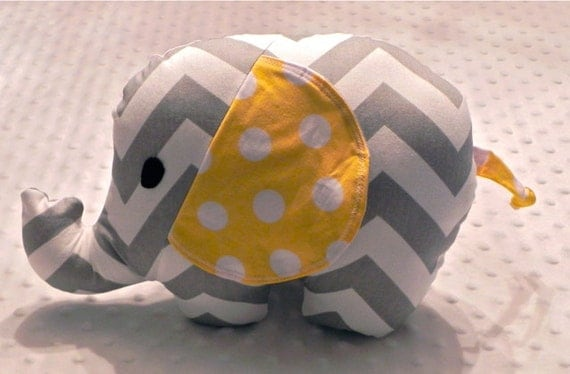 Gray Chevron and Yellow Polka Dot Stuffed Elephant