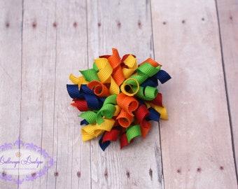 Rainbow korker hair bow, korker, baby hair bow, girl hair bow, bitty rainbow korker hair bow
