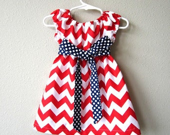 Girls Red White and Blue Belted Chevron Dress