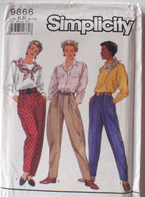 Misses Pants Pattern - Simplicity 9866 - Sizes 8-10-12-14, Waist 24 - 28