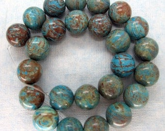 Natural Blue Sky Jasper Smooth Round Beads 16mm - 16 Inch Strand