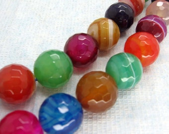 Beautiful Multicolor Lace Agate Faceted Round Beads 14mm