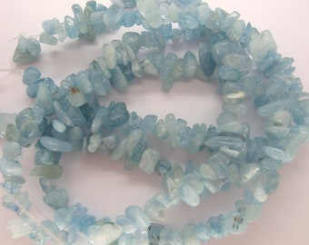 Natural Aquamarine Nugget/Chip Beads -15 Inch Strand