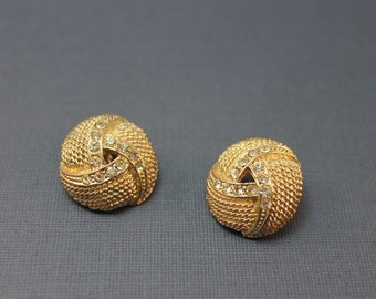 Gold and Rhinestone earrings clip on back clear rhinestones knot design 1960's metallic round nautical look dressy special occasion everyday