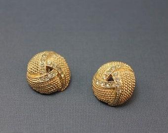 EARRINGS - GOLD - RHINESTONES - clear rhinestones - knot