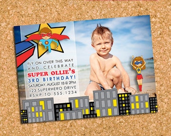 Super Hero Birthday Party Photo Invitation, Superhero Party Invite, Super Boy Girl - DiY Printable, Print Service Available || Superhero