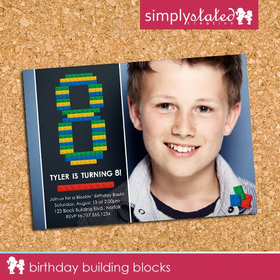Birthday Building Blocks | custom kids birthday party photo invitation, building bricks blocks picture party invite - Printable Digital File
