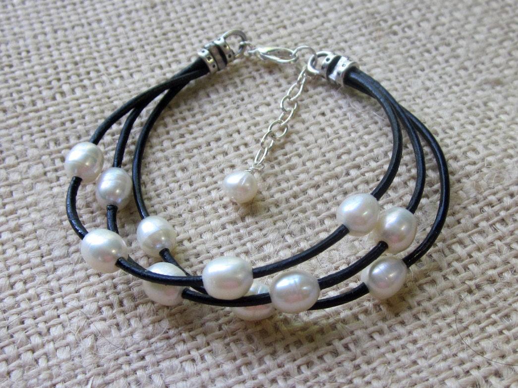 leather pearl bracelet freshwater pearl black leather 3 strand. Black Bedroom Furniture Sets. Home Design Ideas