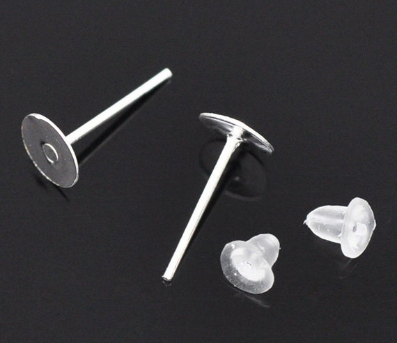 100 Pieces 50 Pair Silver Stud Earring Blanks FREE Rubber Backs 6mm Glue Pad 11mm X 1mm Nickel Free Lead Free