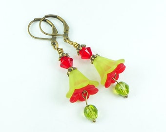Lucite Flower Earrings, Floral Earrings, Floral Jewelry, Fashion Jewelry, Christmas Jewelry