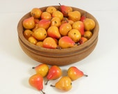 "Miniature Pears 1 1/4"" Artificial Fruit Orange Yellow Fall Floral Bowl Filler Set of 48 Pieces"