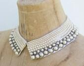 1940's. pearl. beaded. collar. hollywood regency. vintage. Sz s/m.