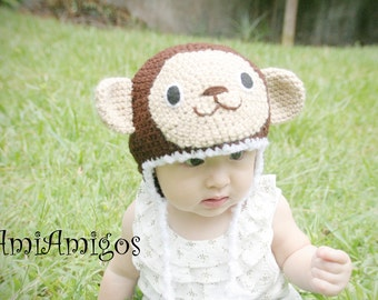 Silly Monkey Crochet Baby Hat (6 - 12 months)