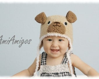 Silly Doggy Crochet Hat (Made To Order - Available in all baby to adult sizes)