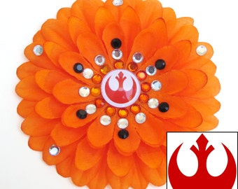 Rebel Alliance/Resistance Orange Penny Blossom Rhinestone Flower Barrette