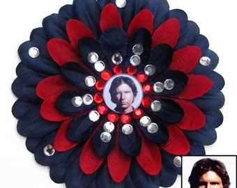 Han Solo Navy and Red Penny Blossom Rhinestone Flower Barrette