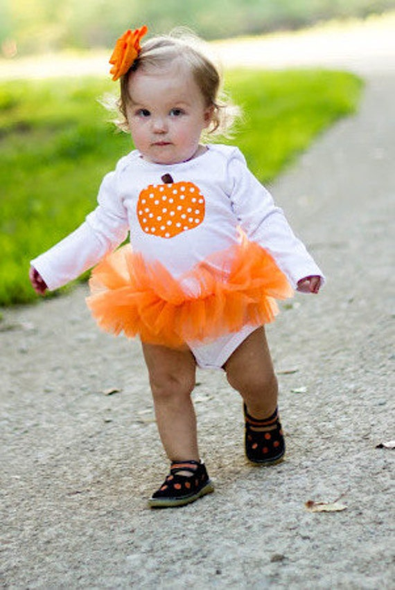 Polka Dot Pumpkin Baby Girl Tutu Bodysuit - Fall Halloween Thanksgiving Pumpkin Costume - Sizes Newborn - 24 Months