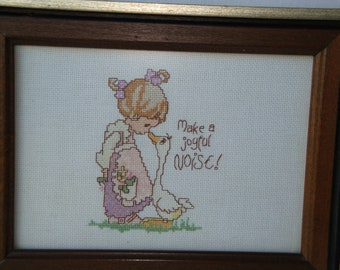 Vintage collectable hand stitched picture, Collectable stitched picture for a girls room, child's room decor, girl's room
