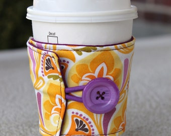 Coffee Cozy / Cup Sleeve - Tea Cozy - Central Park by Kate Spain for Moda -Trefoil in Sunshine Yellow, Purple Orange Floral -Spring Cup Wrap