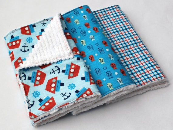 Chenille Burp Cloth Set - Baby Boy Burp Cloths, Set of Three - Blue and Orange - Tugboats & Anchors, Fish, and Plaid