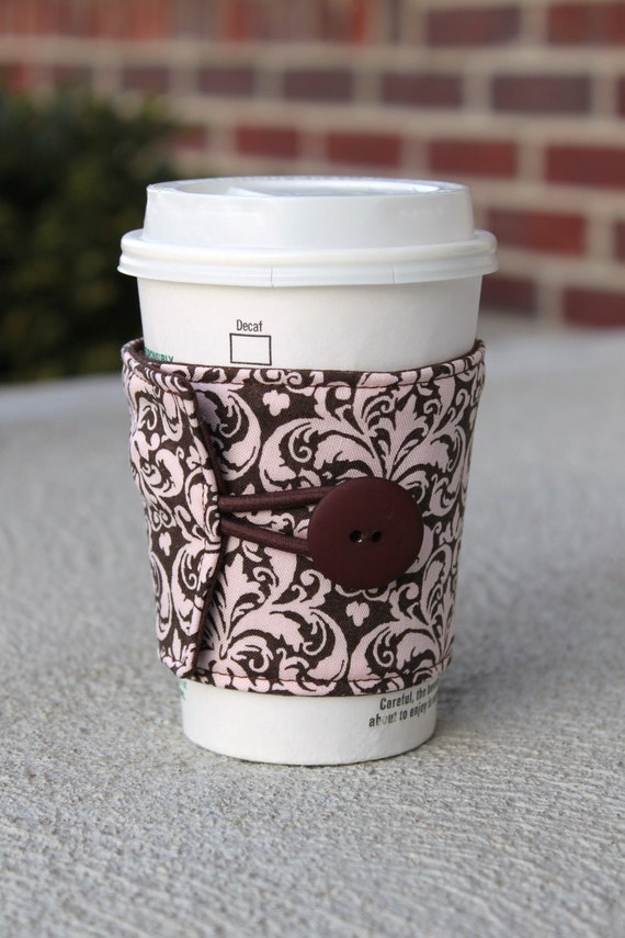 Adjustable Coffee Cup Wrap / Mug Cozy - Brown and Pink Damask