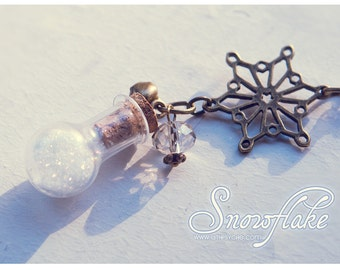 Snowflake Bottle necklace. Winter pendant, christmas necklace cute pendant Snow bottle, snowflake necklace travel gift outdoors gift for her