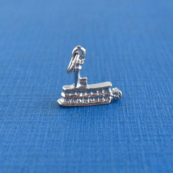 Paddle Wheel Riveboat Sterling Silver Charm