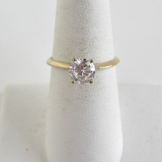 Vintage Gold & CZ Ring - Prong Set Solitaire