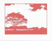 Art Note Card  Landscape Tree Sky Red