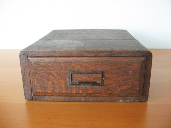 Vintage Wood File Drawer